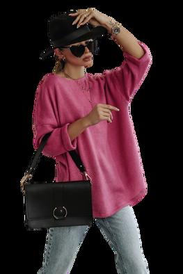 Simplicity Bluza sweterkowa OVER RÓŻOWA fuchsia