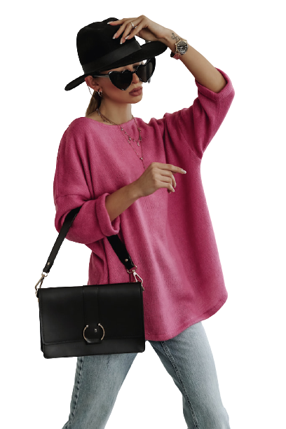 Simplicity Bluza sweterkowa OVER RÓŻOWA fuchsia (1)