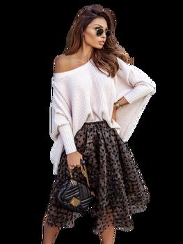 COCOMORE Sweter oversize prążek jasny puder róż