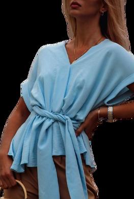 Simplicity bluzka fantazyjna wiązana niebieska