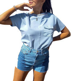 by Malecka bluzka t-shirt kieszonka blue