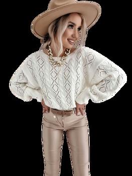 BY ME Sweterek Ażurowa elegancja kremowy