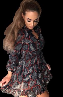 Sukienka boho w liście czerwone Lola Fashion