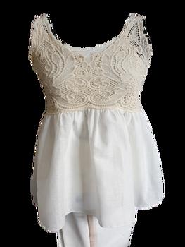 Made in Italy Bluzka beżowo - biała ażurowa
