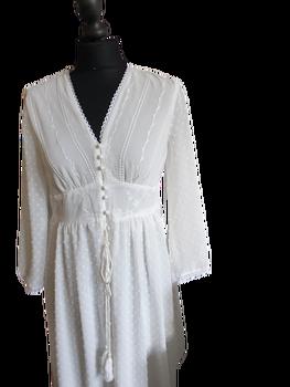 Made in Italy Sukienka biała długa plumenti