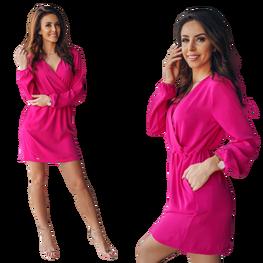 Sukienka przekładana różowa malina Lola Fashion