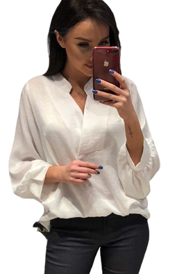 Bluzka oversize biała perłowa Lola Fashion