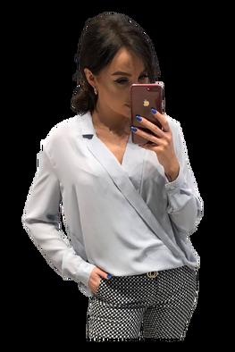 Bluzka przekładana szara Lola Fashion