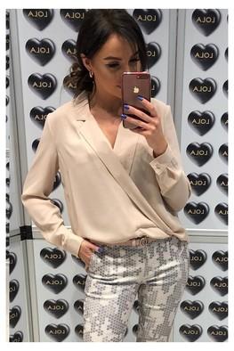 Bluzka przekładana beż Lola Fashion