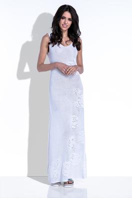 Fobya sukienka maxi ażurowe kwiaty biała
