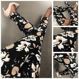 Lola Fashion spodnie cygaretki czarne kwiaty beż