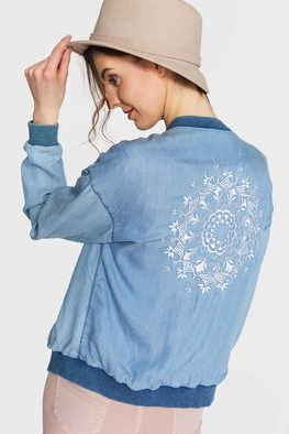 Blue Shadow Bomber Jacket FOLKMANDALA  Jeans