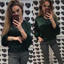 Bluzka oversize szmaragd perłowa Lola Fashion