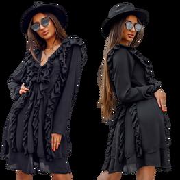 Sukienka Lola czarna falbanki Lola Fashion