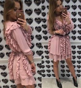 Sukienka Lola pudrowy róż falbanki Lola Fashion
