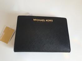 MICHAEL KORS portfel BLACK złote logo zapinany