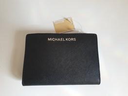 MICHAEL KORS portfel BLACK srebrne logo zapinany