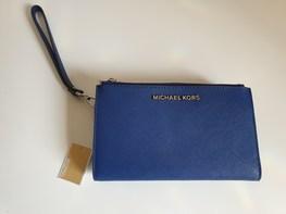 MICHAEL KORS portfel DOUBLE SAPPHIRE srebrne logo zapinany