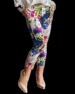Spodnie cygaretki wzór kwiaty Lola Fashion