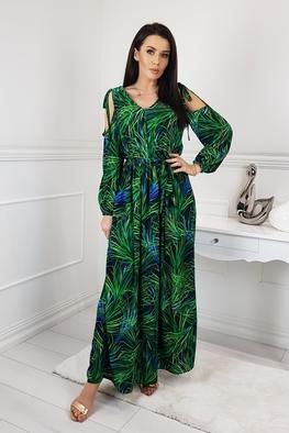 Efektowna, długa sukienka maxi, wzór trawy