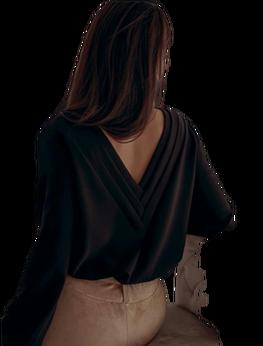 BOCCA Bluzka Elegancka czarna ozdobny tył V