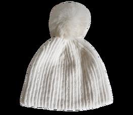 Made in Italy czapka pompon szenilowa biała
