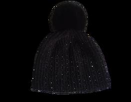 Made in Italy czapka pompon szenilowa czarna