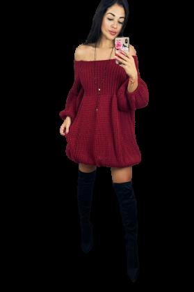 s.Moriss sweter Anabel długi bordowy (1)