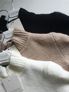 COCOMORE Sweter Shenile półgolf beżowy 3/4 rękaw