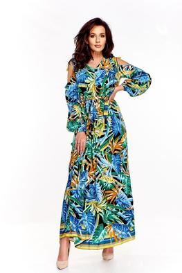 Efektowna suknia maxi, wzory monstery Martex Fashion