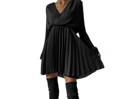 Lola Fashion Sukienka Plisowanka Czarna