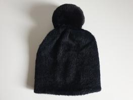 Made in Italy Czapka Alpaka czarna odpinany pompon