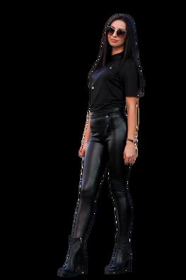 Sigma for you  Spodnie czarne ocieplane leginsy