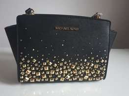 MICHAEL KORS torebka MINI SELMA BLACK ćwieki gold