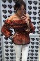 Lola Fashion bluzka hiszpanka panterka pomarańczowa (5)