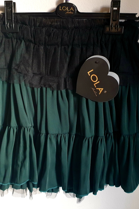Lola Fashion elegancka spódnica zielona falbana tiul (1)