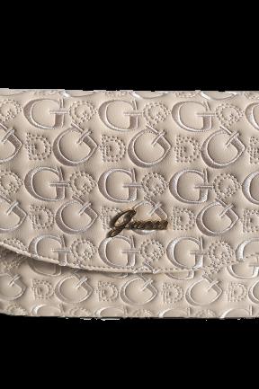 Guess torebka HILMA crossbody flap beżowa logowana (1)