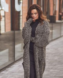 COCOMORE Sweter Premium gruby czarny melanż