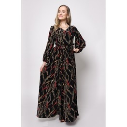 Elegancka, długa sukienka w modne motywy połączenia łańcuszków z paskami.