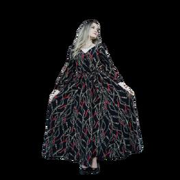 Suknia maxi w modne printy łańcuszków czarna Martex Fashion