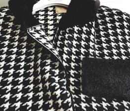 COCOMORE Płaszcz Arias  Tweed czarny z białym