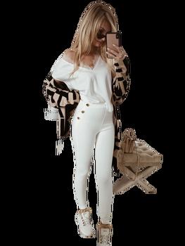 COCOMORE spodnie BUTTONS kremowe