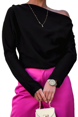 Simplicity Bluzka elegancka czarna jedno ramię