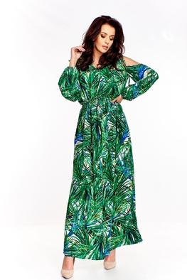 Sukienka maxi, wzór trawy Martex Fashion