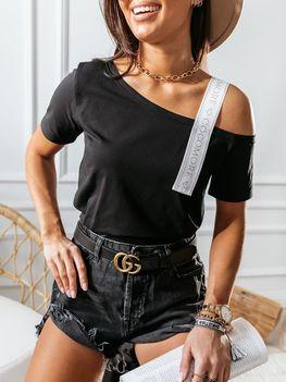Cocomore bluzka Stripe czarna białe ramię