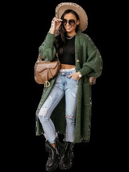 COCOMORE sweter długi zielony melange
