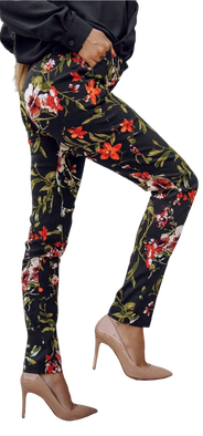 Lola Fashion spodnie cygaretki czarne kwiaty czerwone
