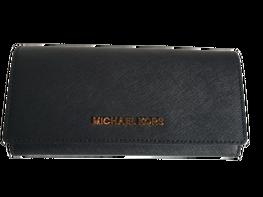 MICHAEL KORS Portfel czarny zapinany złote logo