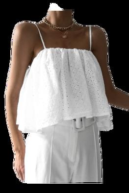LILA LOU Bluzka Rita Limited Edition podwójna ażurowa biała