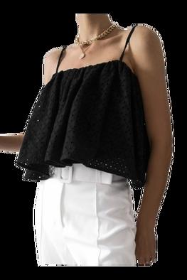 LILA LOU Bluzka Rita Limited Edition podwójna ażurowa czarna